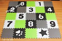 Коврик-пазл с крупными цифрами (салатовый, серый, белый, черный) 150*150 см