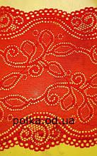 """Стрейчевое кружево""""завиток"""",ширина 18см,цвет красный,черный(цена за 1 м)"""