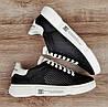 Мужские кроссовки ПЕРФОРАЦИЯ в стиле АЛЕКСАНДЕР МАКВИН Black\White Натуральная кожа (Реплика ААА), фото 2