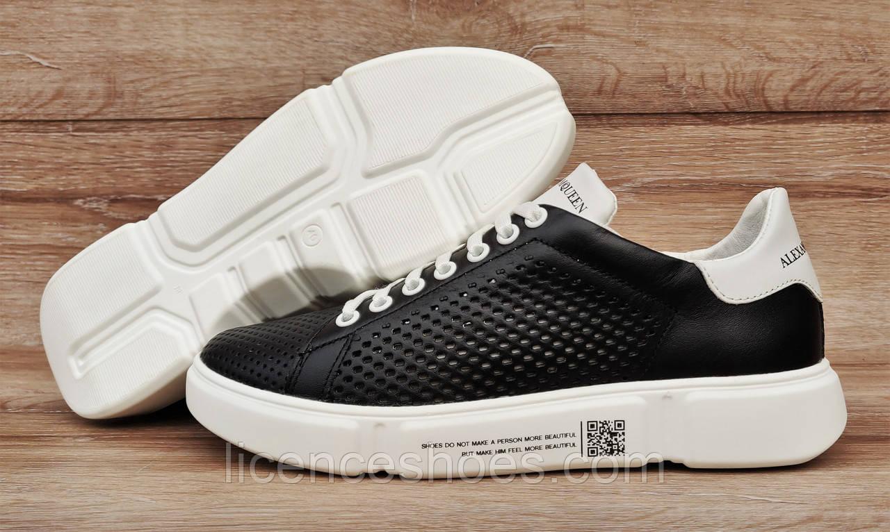 Чоловічі кросівки ПЕРФОРАЦІЯ RoadStyle Black\White Натуральна шкіра (Репліка ААА)