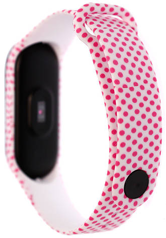 Ремінець MiJobs для Xiaomi Mi Band 3 Силікон Рожевий горошок, фото 2