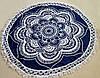 Пляжный круглый коврик-подстилка синий с узором и бахромой