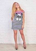 Модное платье в полоску прямого покроя