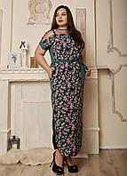 Летнее длинное платье, размеры 50,52,54,56 мелкие цветы с зеленым