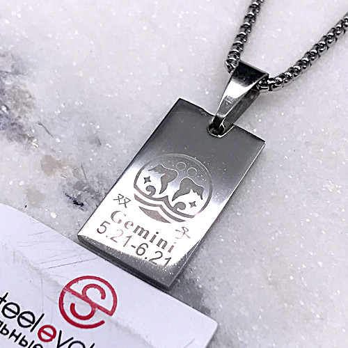 Подвеска кулон знак зодиака Близнецы медицинская сталь 25 мм 128743