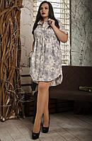 Повседневное летнее платье,размер 54,56,58 серый цветок, фото 1
