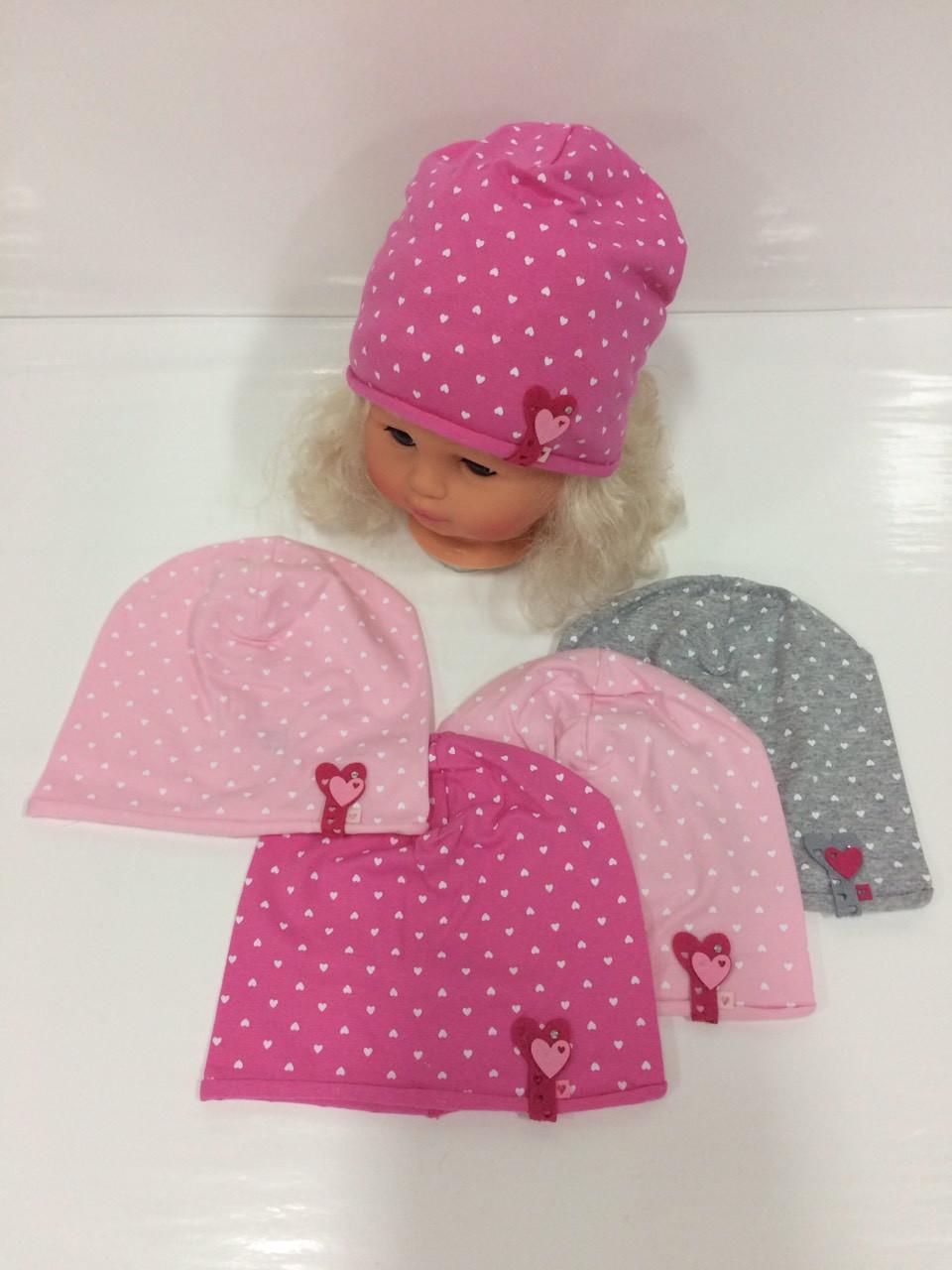 Детские тонкие демисезонные трикотажные шапки для девочек оптом, р.44-46, Польша