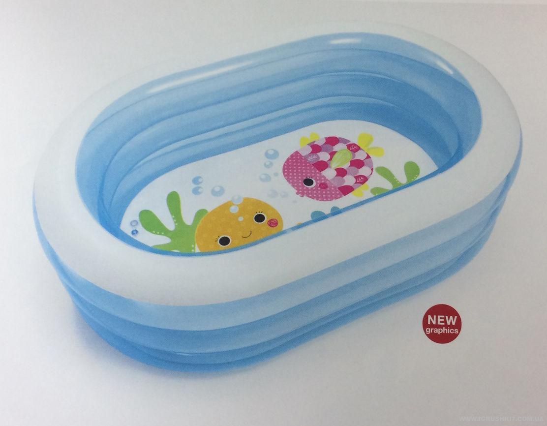 Овальный прозрачный надувной бассейн Intex