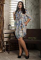 Повседневное летнее платье,размер 52-54,54-56,56-58 серая мозаика, фото 1