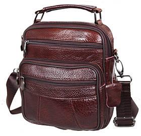 Мужская кожаная сумка через плечо кожа надежная барсетка из кожи 21х18х9см 8s101 коричневая Польша