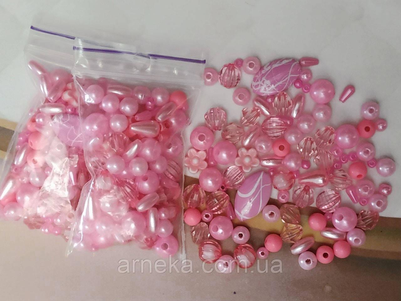 Мікс намистин рожевих (набір 10 грам)