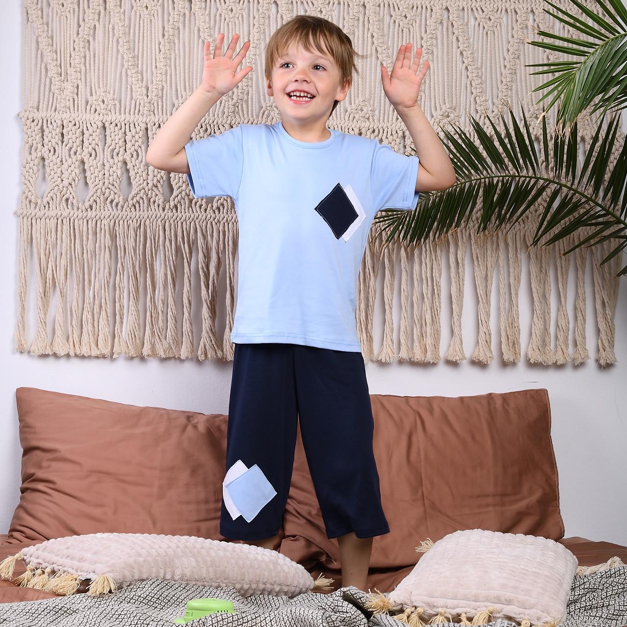 """Пижама для мальчиков футболка и бриджи """"Шахматка"""" Интерлок   Піжама для хлопчиків """"Шахматка"""""""