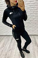 Костюм спортивный женский из двунитки декорированый молниями с капюшоном (К27926), фото 1