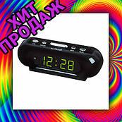 Часы сетевые 716-2 зеленые, 220W