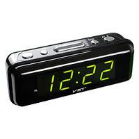 Часы сетевые 738-2 зеленые, 220W, фото 1