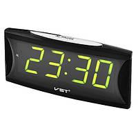 Часы сетевые 719-2 зеленые, 220W, фото 1