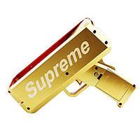 Пістолет для стрільби грошима SUPREME MONEY GUN Chrome Gold грошовий пістолет Золотистий (SUN4476)