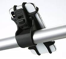 Гибкий силиконовый вело- мото- держатель для мобильных устройств  с креплением на руль в черном цвете