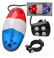 Полицейский велосипедный гудок-звонок-сирена 6 LED габарит электронный на 2хАА, фото 1