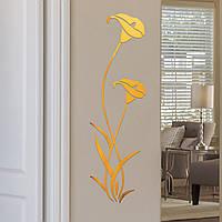 """Наклейка на стену акриловая зеркальная """"Цветы"""" (100х29 см). Наклейка для декора мебели – ЗОЛОТО."""