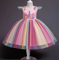 Плаття святкове дитяче веселковий Єдиноріг рожеве