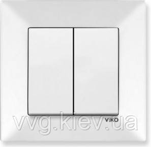 Выключатель 2-клавишный белый VIKO Meridian