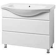 Тумба под раковину для ванной комнаты на ножках КАНТРИ Т17 (белая) с умывальником ИЗЕО 95