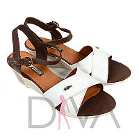 Босоножки на танкетке женские кожаные в интернет магазине босоножек 1402brown