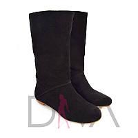 Модные сапоги женские замшевые 7002blackd