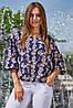 ✔️ Женская летняя блузка 42-48 размера темно-синяя