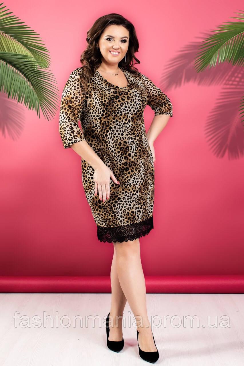 Платье женское батал леопард