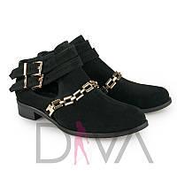 Ботиночки стильные женские замшевые 7014black-Z магазин женской обуви: ботинки недорого оптом