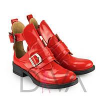 Ботинки женские кожаные лакированные 7013red-L купить женскую зимнюю и демисезонные обувь дешево