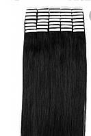 Волосы для ленточного наращивания 50см 20 прядей Черные 01