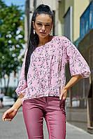 ✔️ Женская летняя блузка 42-48 размера светло-розовая, фото 1