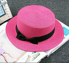 """Соломенная женская шляпа-канотье """"MARION"""" с лентой (7 цветов), фото 3"""