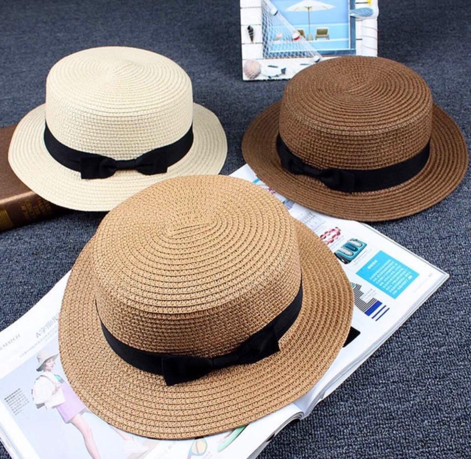 """Соломенная женская шляпа-канотье """"MARION"""" с лентой (7 цветов)"""