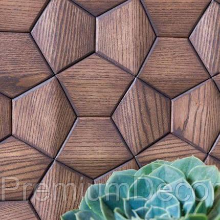 Деревянные 3Д панели стеновые АТЛАНТА мозаика с дерева дуб, ясень, фото 2