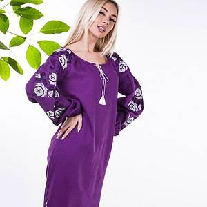 Льняное вышитое платье Эмилия цвета слива