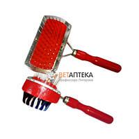 Расческа -щетка деревянная двусторонняя красная пакет 125 403А