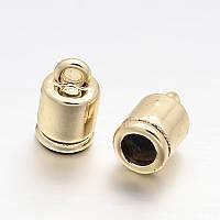 Концевик для шнура металлический 10х6мм светлое золото для рукоделия