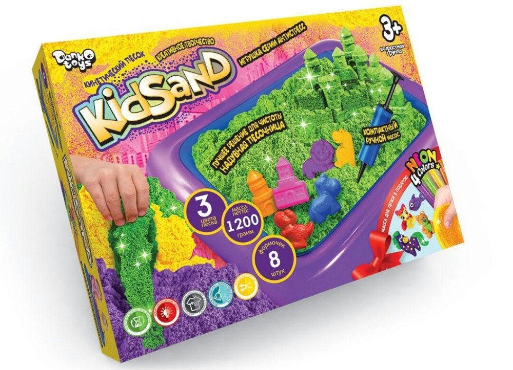 Набор для творчества Danko Toys Кинетический песок KidSand 1200г + песочница (Рус) (KS-02-02)