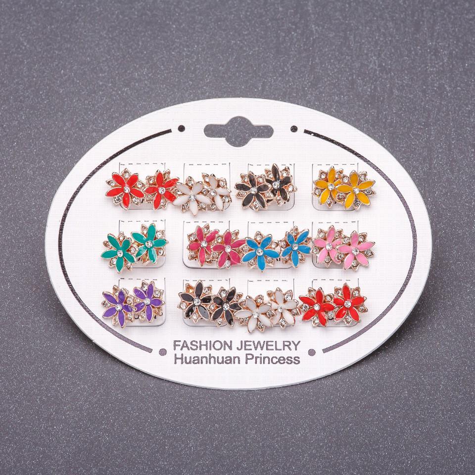 Серьги набор 12 пар цветная эмаль гвоздики