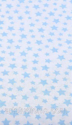 Ткань. Хлопок Звездопад голубые звезды на белом  Отрез 50х40см