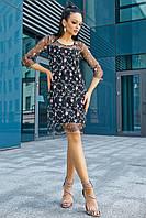 Красиве нарядне плаття двійка - сітка з вишивкою 44-50 розміру, фото 1