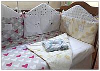 Защита бортики ограждение в детскую кроватку+плед+простыня на резинке+подушечка.