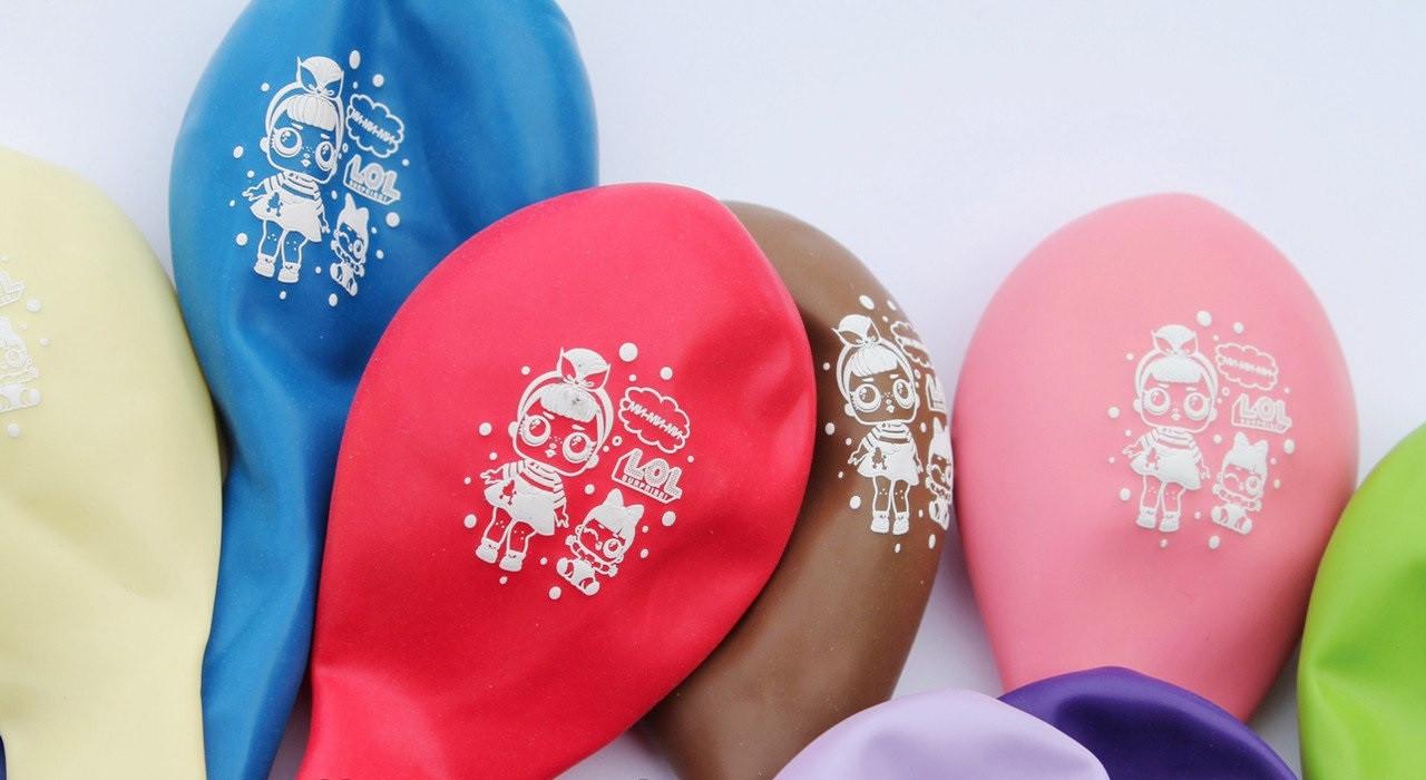 """Набор воздушных шариков """" Лол """" двухсторонняя печать 30 см  Gemar"""" (Италия) 5 штук"""