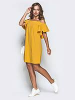 S-M Платье мини свободного кроя с открытыми плечами и рукавами крылышко  ЛЕТО
