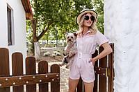 Женский комбинезон  с шортами Ткань лён Размер 40 42 44 46 В наличии 3 цвета