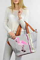 Женская вместительная сумка на пляж Фламинго